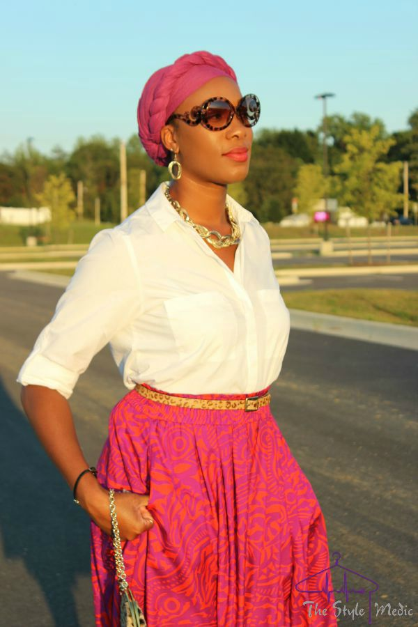 Printed Skirt, head wrap