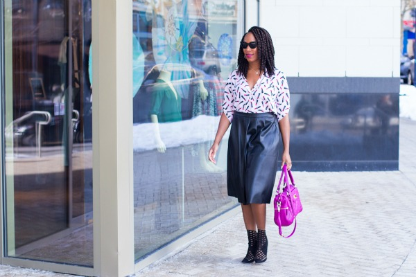 Lipstick Print Top & Faux Leather Skirt 2| The Style Medic