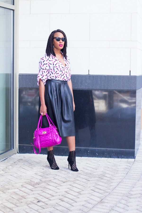 Lipstick Print Top & Faux Leather Skirt | The Style Medic