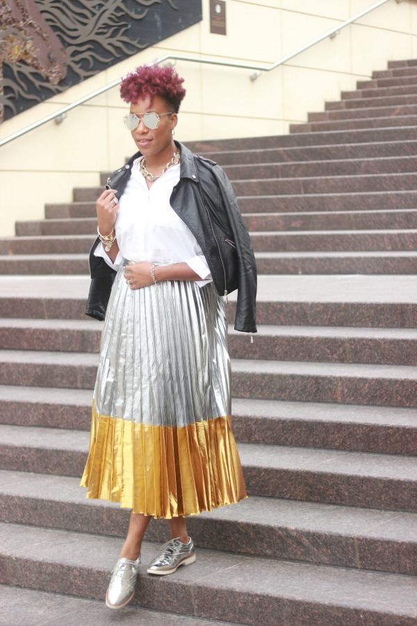 OOTD Metallic Skirt & Moto Jacket | The Style Medic