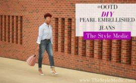 #OOTD DIY Pearl Embellished Jeans