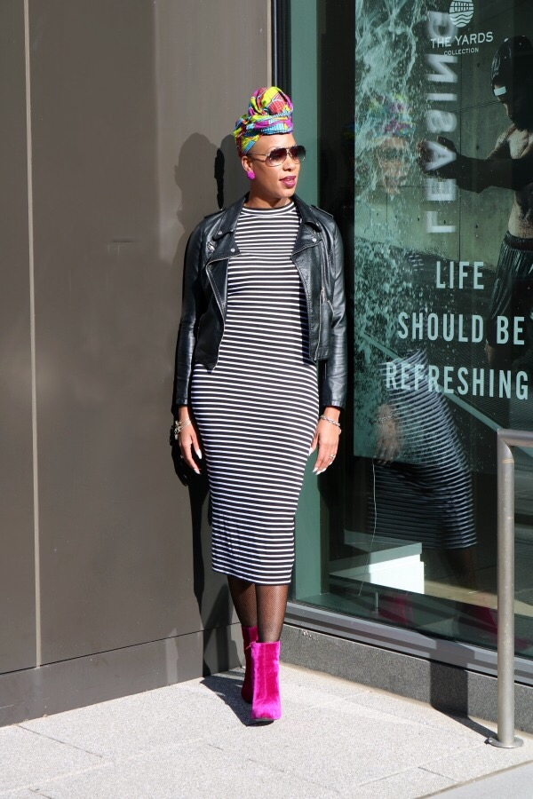 Tracee Ellis Ross Bodycon Striped Dress | The Style Medic